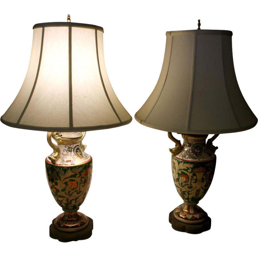 vintage italian majolica luster lamp pair from savannahgalleries on ruby lane. Black Bedroom Furniture Sets. Home Design Ideas