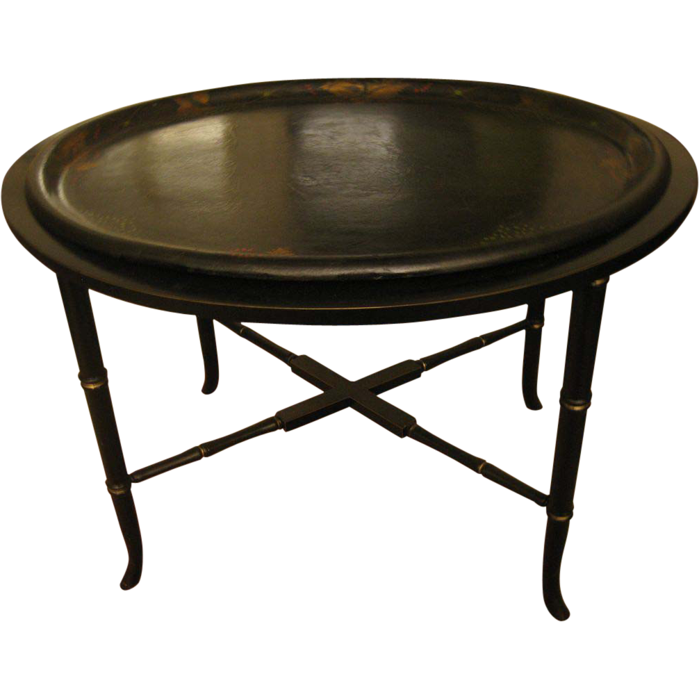 papier mache antique tray table from savannahgalleries on ruby lane. Black Bedroom Furniture Sets. Home Design Ideas