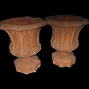 Mid 20th c. Garden Urns Gothic StyleTerracotta