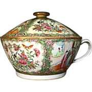 Rose Medallion 19th c. Chamber Pot with Lid