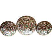 19th c. Rose Medallion Plates set Three