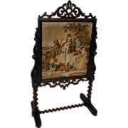 19th c. English Rosewood Needlepoint Firescreen