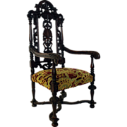 Antique English Oak Renaissance Revival Armchair
