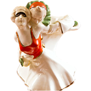 20th c. Pierrot and Pierrette Porcelain Figurine