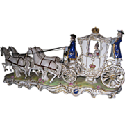 Early 20th c. German Volkstedt Porcelain Royal Coach Figurine