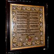 19th c. Framed Needlepoint Sampler
