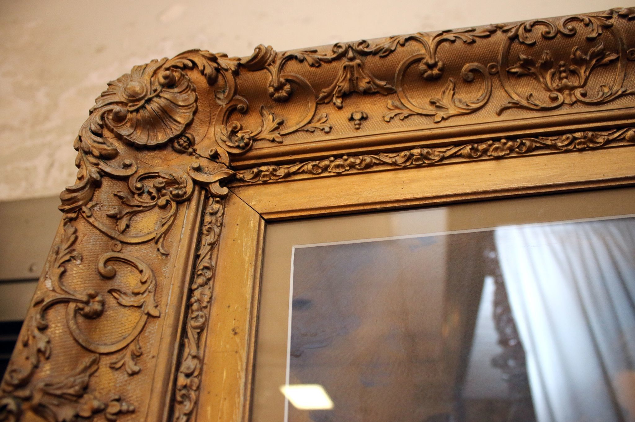 19th C Pastel In Giltwood Frame From Savannahgalleries On