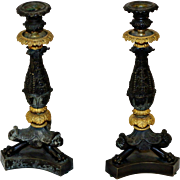 19th c. French Bronze and Gilt Candlesticks
