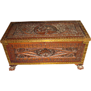 19th c. Carved Oak Trunk Chest