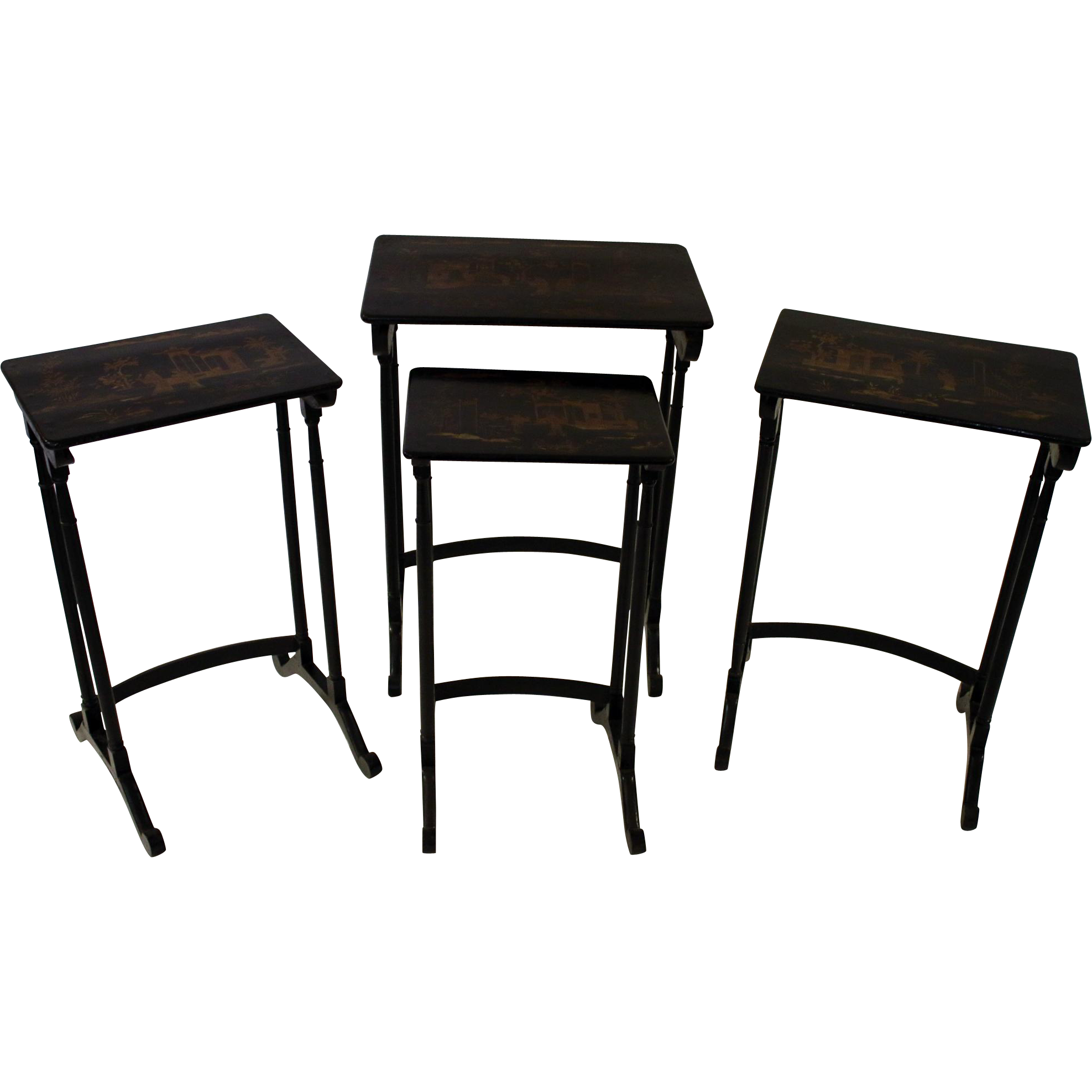 19th Century Set Of Four Chinoiserie Nesting Tables From Savannahgalleries On Ruby Lane