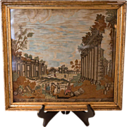 19th Century Silk Needlework  Depicting North View of the Quadrangle Ruins of Baalbek - Red Tag Sale Item