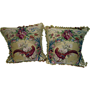 Aubusson Tapestry Pillow Pair