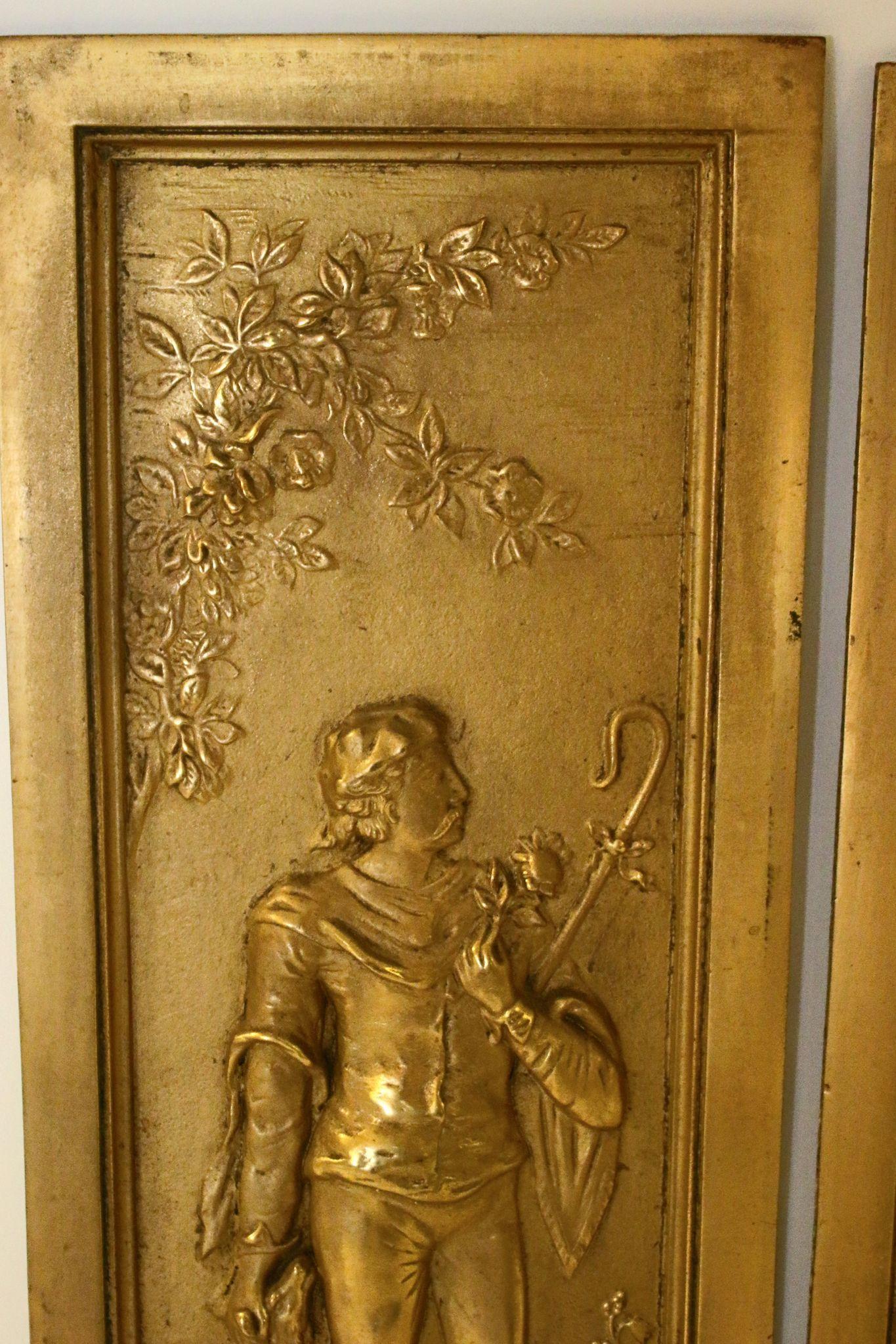 victorian cast bronze fireplace insert panels from