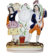 19th English Staffordshire Musicians with Clock Figurine