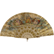 19th c. Antique French Hand Painted Fan