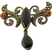 Carnelian, Onyx and Marcasite Art Nouveau Pin