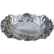 Sterling Silver Bread Tray Art Nouveau Opium Poppies