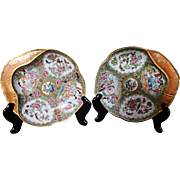 19th Century Rose Medallion Shrimp Plate Pair
