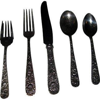 Repousse by Kirk Sterling Silver Flatware Set 40 Pieces