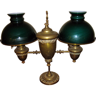 19th Century Double Student Kerosene Burning Oil Lamp