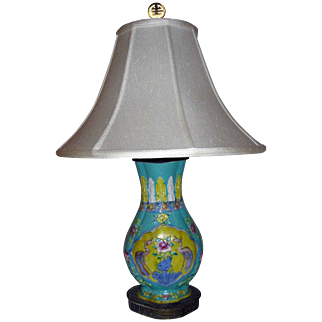 19th Century Japanese Royal Crane Vase Table Lamp