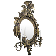 19th Century American Bulls Eye Gilded Wood Girandole Mirror