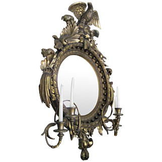 19th Century American Bulls Eye Girandole Mirror