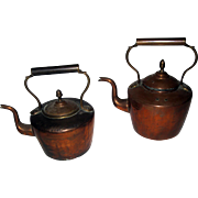 19th Century Pair English Copper Tea  Kettles