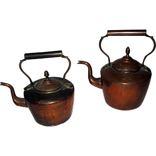 19th Century Pair English Copper Tea  Kettles
