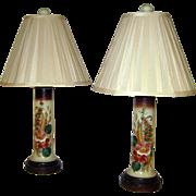 Pair Japonesque Style Hand Painted Porcelain Table Lamps