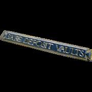 Art Nouveau Antique Bronze Large Bank Vault Sign