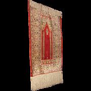 Turkish Silk Ghiordes Prayer Rug