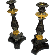 19th Century Charles X French Candlestick Pair of Gilt and Patinated Bronze