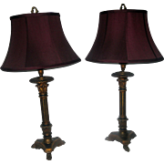 19th Century Giltwood Candlesticks Converted into Lamps