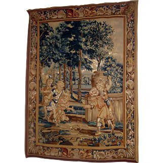 Handwoven Flemish Style Verdure Large Size Tapestry