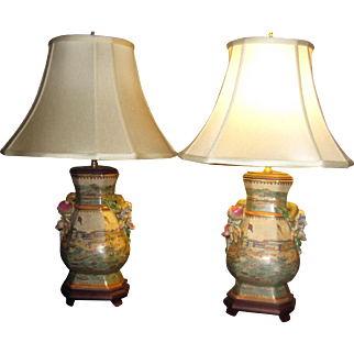 20th Century Porcelain Chinese Export Trade Lamp Pair