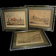 19th Century English Hunting Prints Set of Three