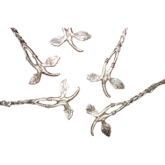 Sterling Silver Demitasse Spoons with Twig and Leaf Handles