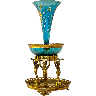 19th Century Victorian Figural Epergne with Bohemian Glass Inserts