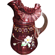 Vintage Cranberry Glass Pitcher with Enameled Decoration