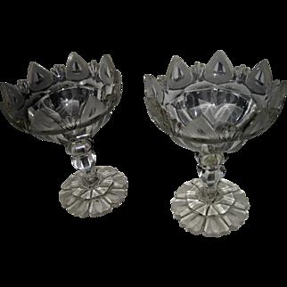19th Century English Georgian Flint Glass Compote Pair