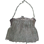 Antique Edwardian Thistle Motif Silver Mesh Bag