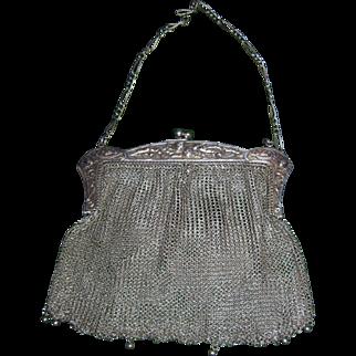 Antique Edwardian Thistle Motif Silver Mesh Bag