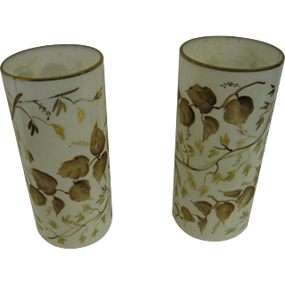 Antique Mantle Vases Hand Painted Milk Glass