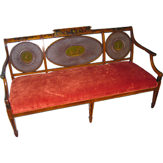 Adam Style Painted Satinwood Triple Chair Caned Back Settee