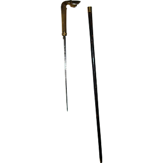 19th Century Horn Hoof Dagger Walking Stick