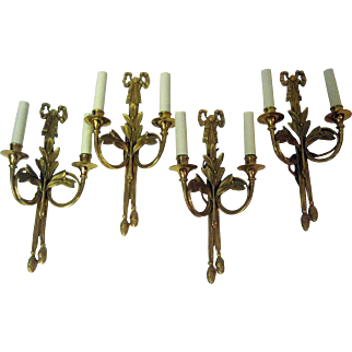 Four Gold Gilded Bronze French Wall Sconces