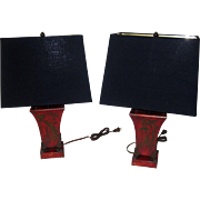 19th Century Chinoiserie Tole Lamp Pair