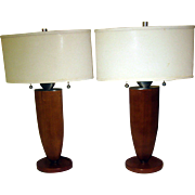 Mid Century Modern Fruitwood Lamp Pair