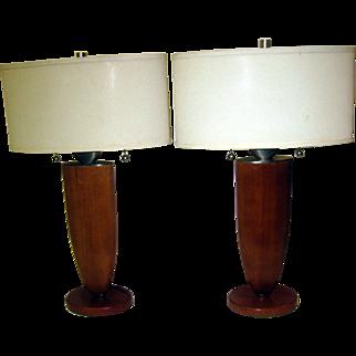 Mid Century Modern Fruitwood Lamp Pair